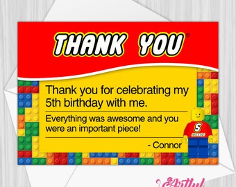 Printable Building Blocks Thank You Note | Personalized