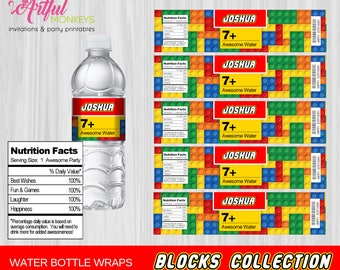 Printable Building Blocks Party Water Bottle Labels | Personalized