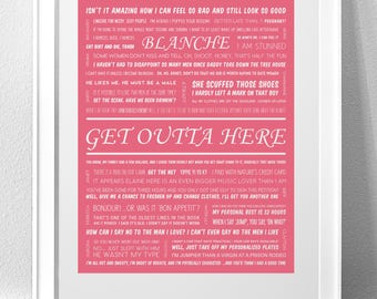 "BLANCHE DEVEREAUX, ""Get Outta Here"" (Golden Girls) Individual Character Print"