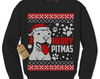 Merry Pitmas Pitbull Ugly Christmas Holiday Adult Crewneck Sweatshirt
