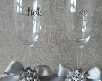 Beautiful princess Bridal glasses. Bride, bridesmaids, Mother of the Bride, Mother of the groom, maid of honour champagne flutes.