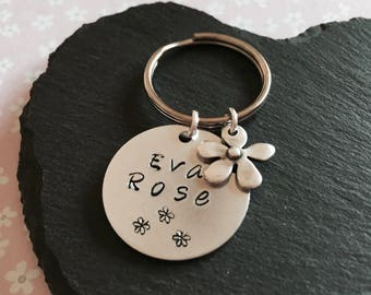 Name Key Ring, personalised Name key ring, Hand stamped key ring with charm, Initial key chain, children's key ring.
