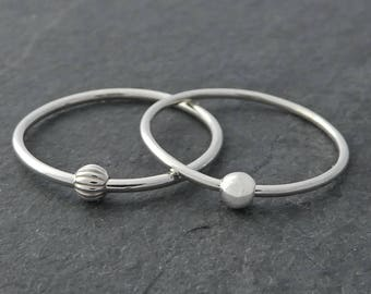 Thin Sterling Silver Fidget Ring Set of Two - Petite Stackable Silver Fidget Ring, Worry Ring - Silver Spinning Bead Ring, Small Bead Ring