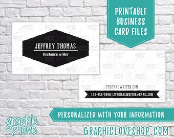 Printable, Personalized Black and White Double Sided Business Cards | Calling Card, Contact, Small Biz | Digital JPG, PNG, & PDF Files