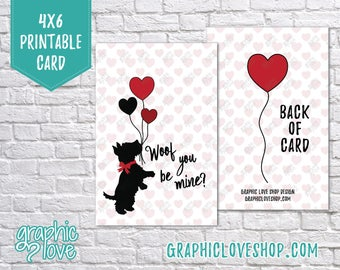 Printable Woof You Be Mine Scotty Dog 4x6 Valentine's Day Card/Postcard | High Res Digital JPG Files, Instant Download, File NOT Editable