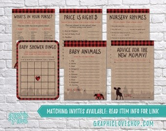 Printable Set of 6 Lumberjack Baby Boy Shower Games & Advice for Mom Card | PDF, Instant Download, Ready to Print, Files NOT Editable