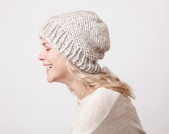 Wheat knit beanie hat, chunky winter hat, beige soft beanie hat for women and teens, fashion accessory, trendy womens gifts, hand knit hat