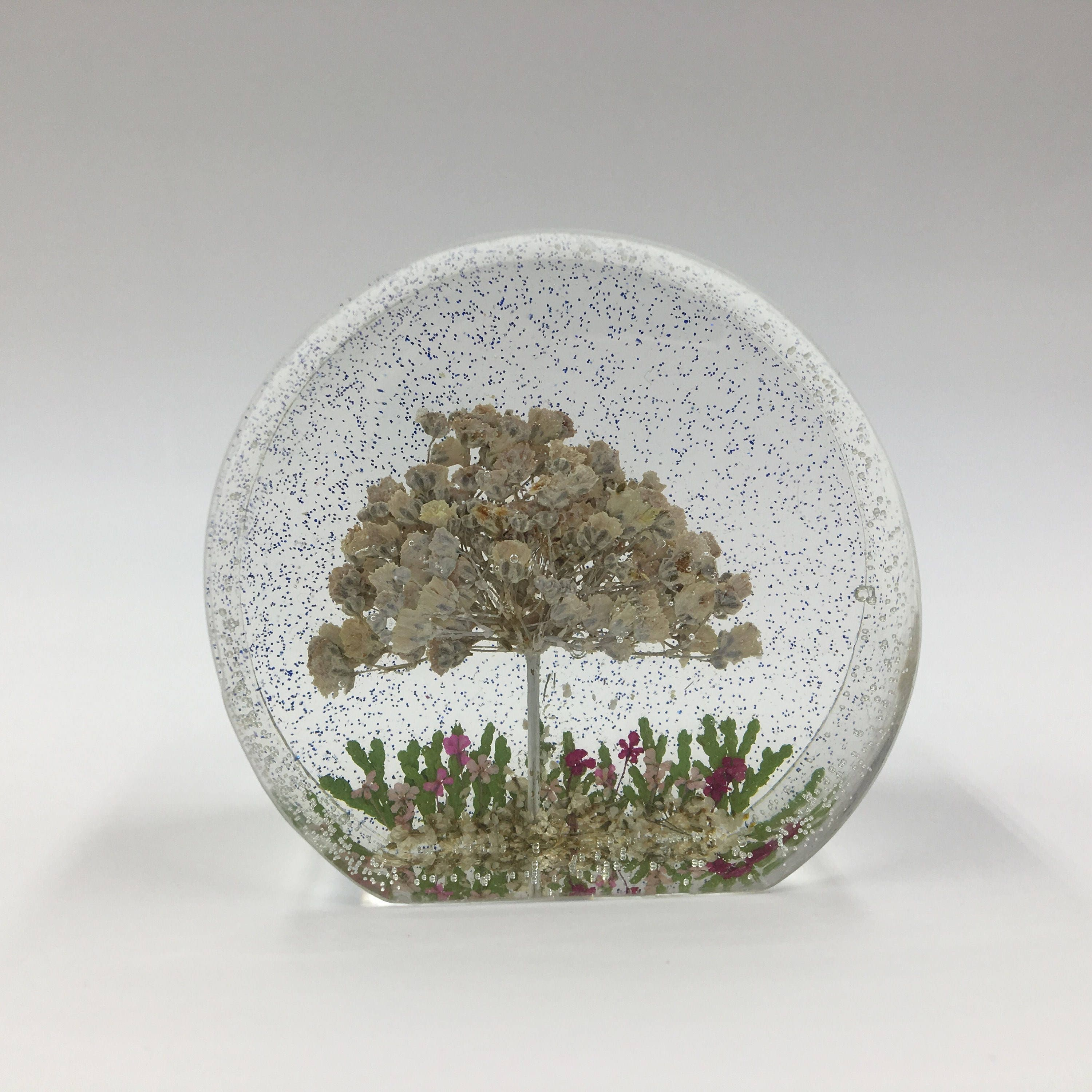 Beautiful Pressed Flower Paperweight Babys Breath Paperweight