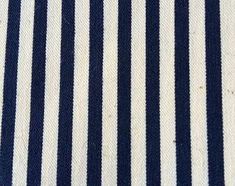 navy striped cotton canvas