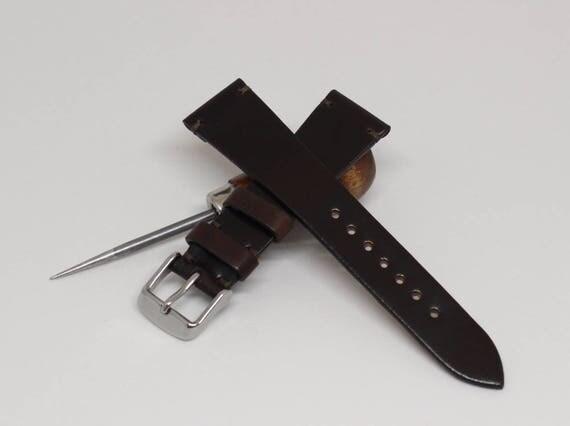 20/16mm Dark Brown Horween Shell Cordovan watch band - simple side stitch