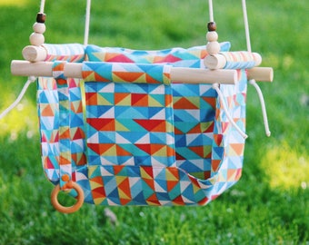 porch swing, indoor swing, outdoor swing, outdoor furniture, indoor furniture, baby swing, fabric swing, baby hammock, baby shower gift,