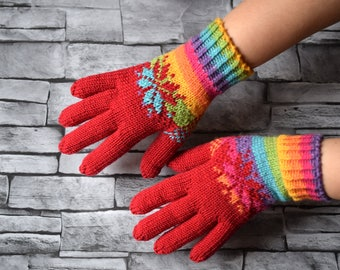 Rainbow and red womens wool gloves, soft wool winter gloves, mismatched gloves, hand knit gloves with colorwork, size S/M ready to ship