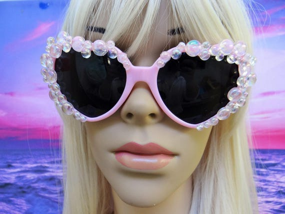 Bubblebath Bubbles Sunglasses I'm Really A MERMAID Sun Glasses Sunnies Heart Shaped Ariel Disney Nautical The Little Retro Vintage A012