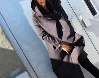 SALE Grey Asymmetric Coat/ Extravagant Hooded Top/ Loose Maxi Blazer by Fraktura B0018