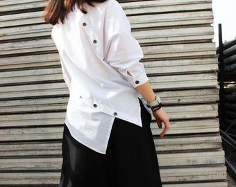 SALE White Asymmetric Shirt / Extravagant Cotton Top / Summer Loose Shirt by Fraktura B0002