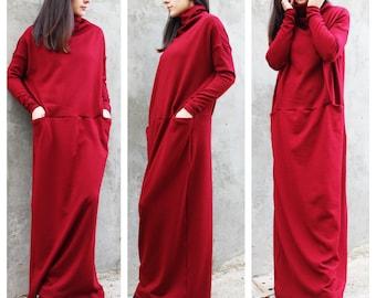 Maxi dress, Winter maxi dress, Long winter dress, caftan, maxi caftan, warm dress, red dress, long sleeved tunic, turtle neck dress / D0018