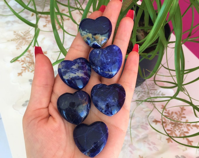 10 Blue Sodalite Hearts / Wholesale Crystals and Stones