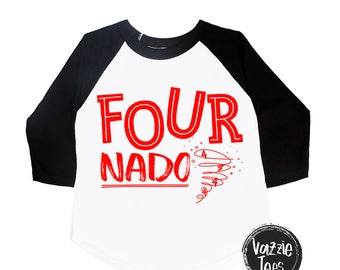 Fournado Birthday Shirt - Fourth Birthday - 4 Year Old - Unisex Kids Shirt - Birthday Shirts - Fournado Tornado - I'm FOUR - Four Nado
