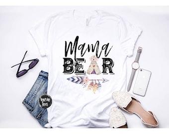 Mama Bear Shirt - Tribal Mama Bear - Mom of the Tribe - Tribal Shirts - Mom Shirts - Holiday Shirts - Cute Mama Bear Shirts - Women's Tees