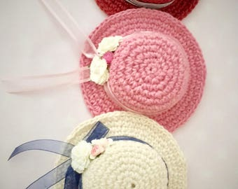 Cotton Twine summer hat with Ribbone and Flowers fot Blythe Doll