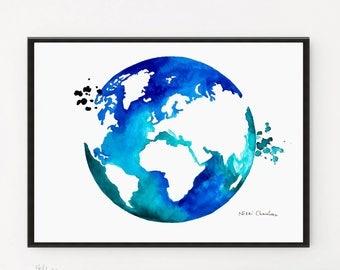 World Map, Wanderlust decor, Watercolor Painting, Globe Illustration, Watercolor print, Travel art, Globe painting, Art print, Printable art