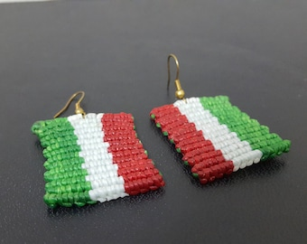 FREE SHIPPING, Macrame Italian Flag, Thai Handmade , Made By Abour, Festival Jewelry
