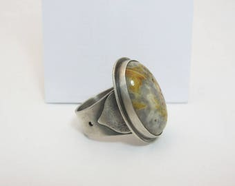 Crazy Lace Agate Quartz Cabochon Sterling Silver Statement Ring
