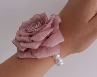 Rose Gold Wedding Corsage,pale Blush pink Rose Wrist Corsage,Bride Bridesmaid Mother flower Corsage,Prom Corsage,Fabric Corsage,Bridal Party