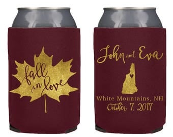 Fall in Love Wedding Can Cooler, Personalized Wedding Can Cooler, Wedding Favor, Rehersal Favor, Fall Wedding, Fall, Any City and State!