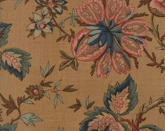 "Moda Fabric ""Graces Garden Tan Floral"" by Betsy Chutchian- One Yard Cut -Reproduction Fabric 1820-1860, Civil War, Teal Floral, 31550 11"