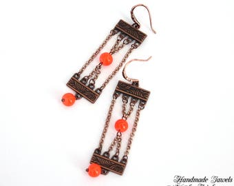 Earrings chains and beads, copper and orange
