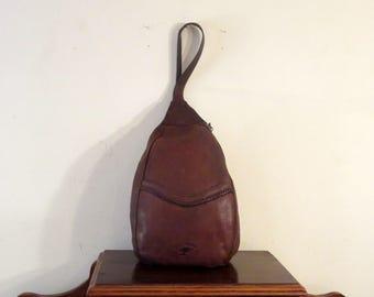Ellington Brown Leather Tear Drop Sling Style Shoulder Bag  Backpack - Slightly Distressed