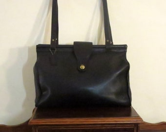 Spring Sale Coach Barclay Tote In Black Leather With Brass Hardware- Style No. 9896- Made In United States- VGC