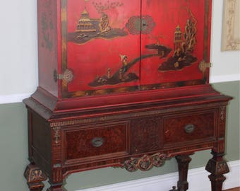Awesome Asian Inspired Chinoiserie Hutch Cabinet Hand Painted Red