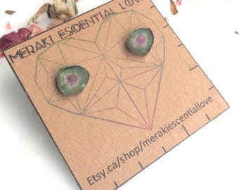 Grade A Raw Watermelon Tourmaline Earring Studs. Heart Chakra. Boho Jewelry.