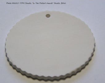 "1 pc 70mm 2.75"" Bisque Blank crinkle edge disc round ceramic ornament DIY aromatherapy, paint your own pyo, art craft canvas ITPH pottery"