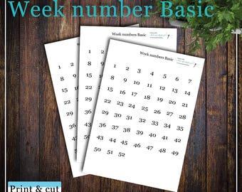 Week number Basic, Print & cut, SVG, FCM, ScanNCut, Silhouette, Cricut