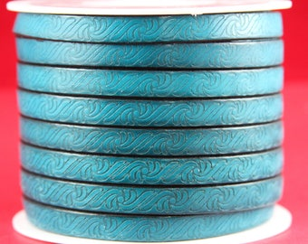 "MADE in EUROPE 24"" flat leather cord, 10mm leather cord, genuine leather cord, embossed 10mm teal leather cord(499/10/08)"