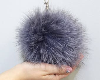 Gray pom pom,Big fur pom pom,Fur keychain,Bag charm,Large fur pom pom,Bag pendant,Fur bug monster,Fur keychain,Furry key chain,Fox charmF553