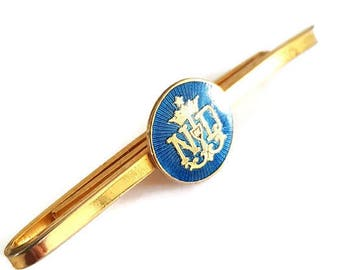 """vintage gold plated and enamel religious tie clip """"Notre Dame"""""""