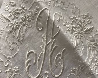 """White Initial """"H"""" Bridal Hanky~Floral Handkerchief~Scalloped Edge~Monogram~Satin Padded H. Embroidery~Madeira~Appenzell~Appears Unused"""