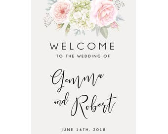 Floral Wedding Welcome Sign, Wedding Poster, Free Colour Changes, DIY Printable We Print, Gemma Suite, Peach Perfect