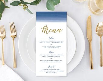 Wedding Menu, Custom Printable Menu, Navy Blue Ombre, Navy and Gold, DIY Wedding, Print Your Own, Corporate Menu, Blue Ombre Suite