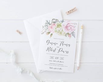 Wedding Invitation Suite, Printable or Professionally Printed, Pink Watercolour Floral, Rustic Garden Wedding, Gemma Suite