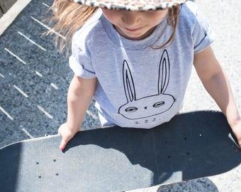 Grey rabbit T-shirt tired, screen printed by BlackSnaps.