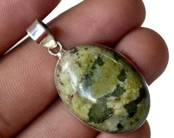 "50% SALE Marvelous Solid Silver Natural Heena Jasper Gemstone 925 Sterling Silver 7 gm - 1 1/2"" Fashion Handmade Pendant Jewelry"