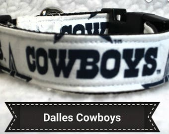 "Dallas Cowboys Dog Collar, Dog Collars, Side Release Dog Collar, Small Dog Collar, Large Dog Collar, Dog Collar, 1"" & 1.5"" Inches Wide"