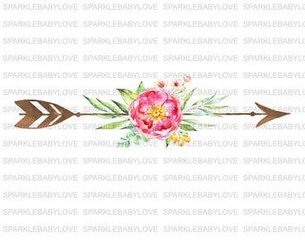 Floral Arrow Decal, Car Decal, Arrow Flor Car Decal, Yeti Decal, Tumbler Decal, Flower Decal, State Decal, HTV Iron On, Watercolor Decal