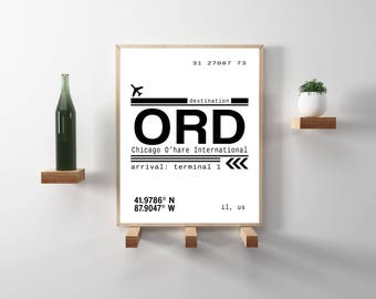 ORD Chicago O'hare International Airport Call Letters. Minimal, modern typography wall art. Wanderlust inspired print. Instant Download.