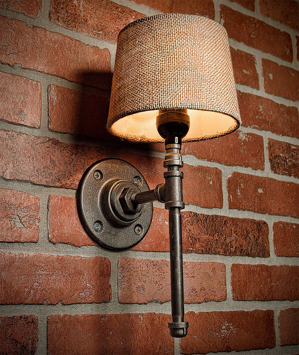 Rustic Industrial Lighting Double Sconce Wall Light Iron: Bathroom Industrial